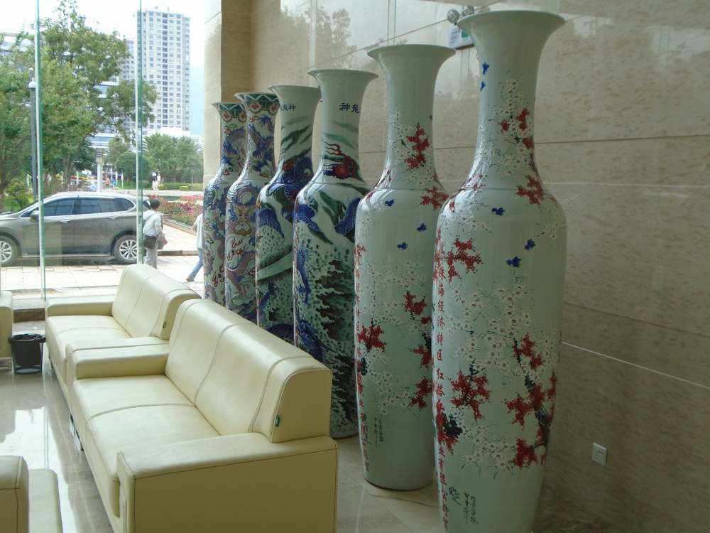 Giant vases in the lobby of the cigarette factory